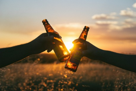 two people toasting their success at sunset